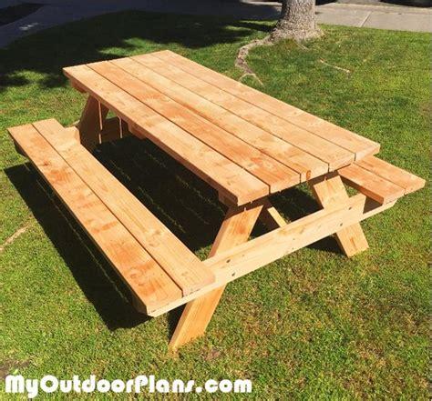 foot picnic table myoutdoorplans  woodworking