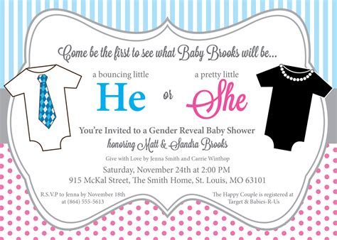 Blue And Pink Baby Shower Invitations by He Or She Gender Reveal Baby Shower Invitations Pink And