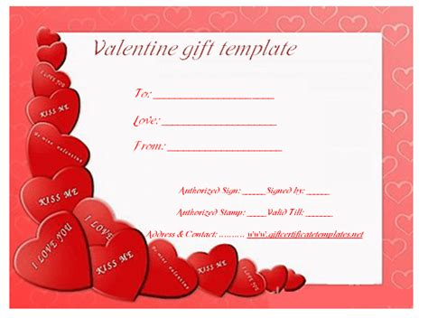 Valentine Gift Card Templates - heart wish gift certificate template gift voucher templates