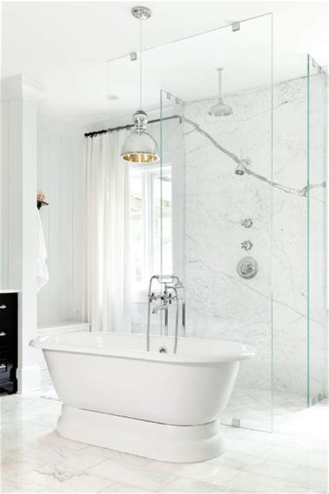 Bathub Standing Oshin Marble betty burgess design glam master bathroom with freestanding tub marble tiles floor seamless