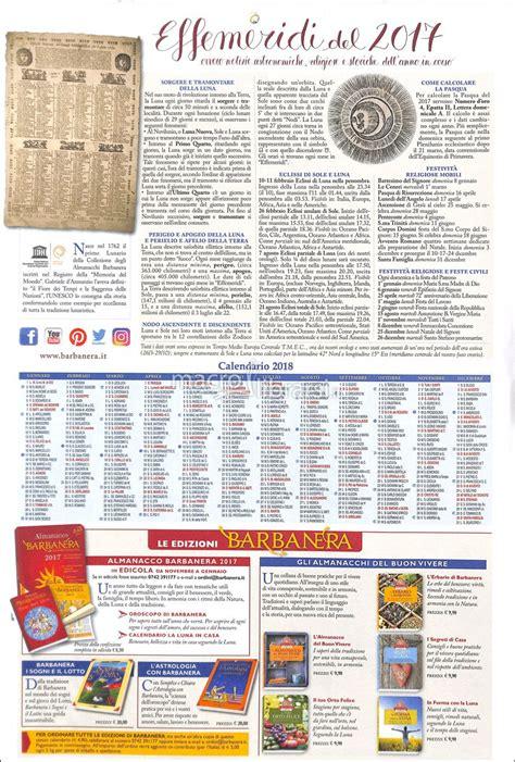 Calendario Lunare Settembre 2017 Barbanera Calendario Lunario 2017