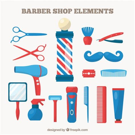 colors barber shop barber shop elements in blue and color vector free