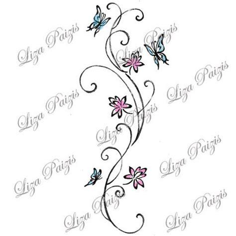 tatuaggi con fiori di loto e farfalle vine con fiori di loto e farfalle con turbinii di