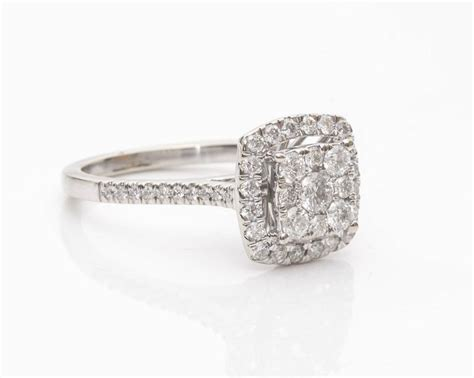 cluster halo white gold engagement ring for sale