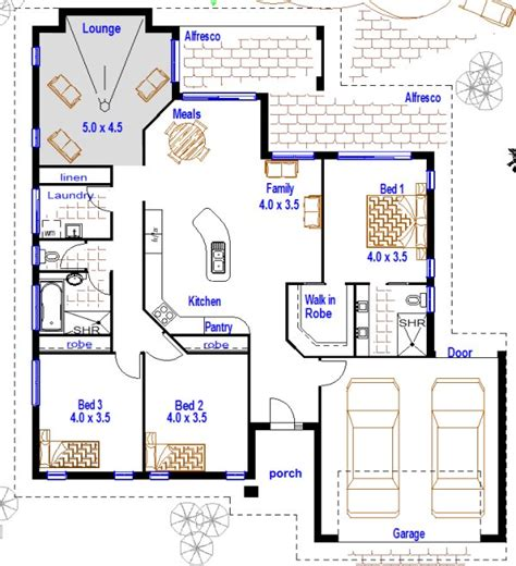 cheap floor plans 3 bedroom house plans with double garage australia bed