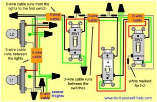 3 way and 4 way wiring diagrams with multiple lights do