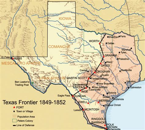 texas forts map 1849 texan frontier forts historical map texas mappery