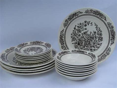 brown pattern dinnerware vintage brown transferware sussex pattern royal ironstone