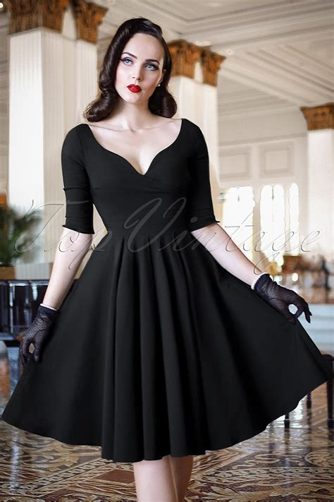 swing dresses the bombshell sleeved swing dress in black