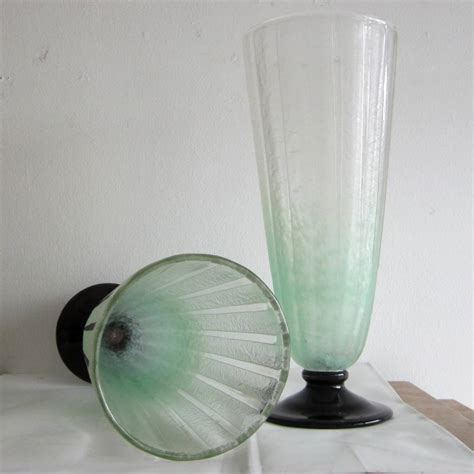 Frosted Glass Vases by Pair Of Deco Pale Green Frosted Glass Vases By