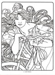 nouveau coloring book deco alphonse mucha 01 coloring pages to print