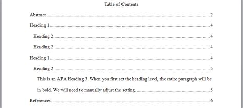 Apa Table Of Contents Format by Perrla Knowledge Base Perrla