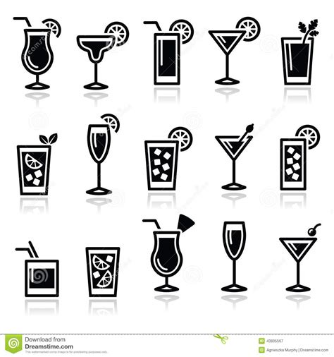 drink vector cocktails drinks glasses vector icons set stock vector