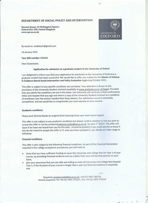 Offer Letter Of Fleming College Sponsor A Graduate Student To Oxford Msc Offer Indiegogo