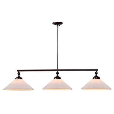 Bronze Island Light Fixtures Kenroy Home Conical 3 Light Rubbed Bronze Pendant 93248orb The Home Depot