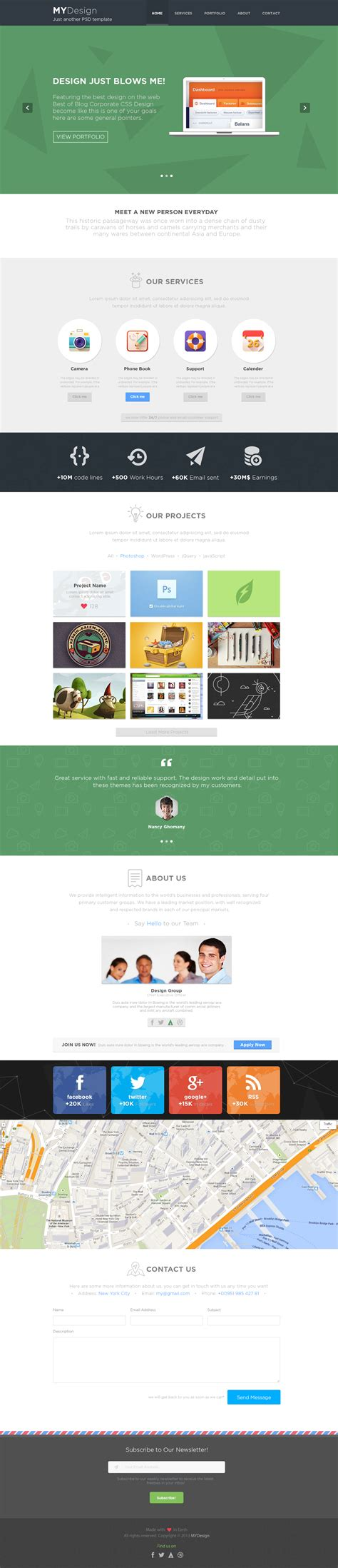 single page phlet templates mydesign onepage multipurpose flat psd template by