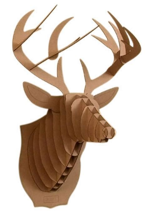cardboard mounted deer mod retro vintage wall decor
