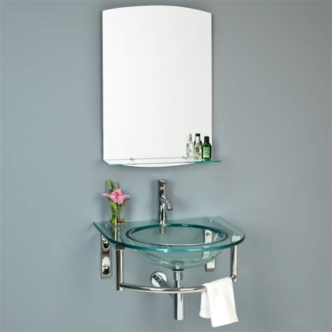 contemporary bathroom mirror with glass shelf lowry wall mount glass sink with mirror and shelf