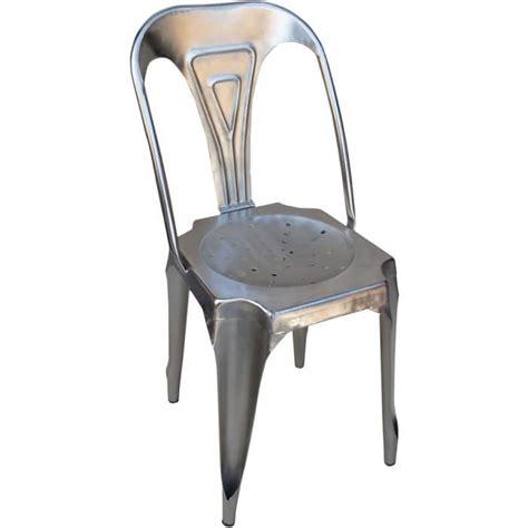 chaise en fer chaise vintage en fer argent 38x38x83cm achat vente
