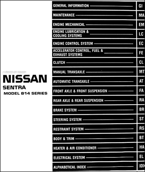1999 nissan 2 0l sentra repair shop manual original