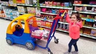kid shopping cart emily doing shopping supermarket song mini car