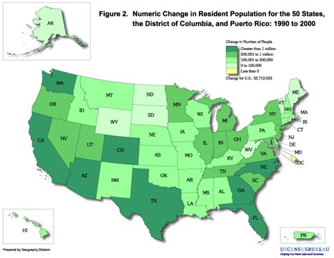 us map states size by population tennessee historical census data