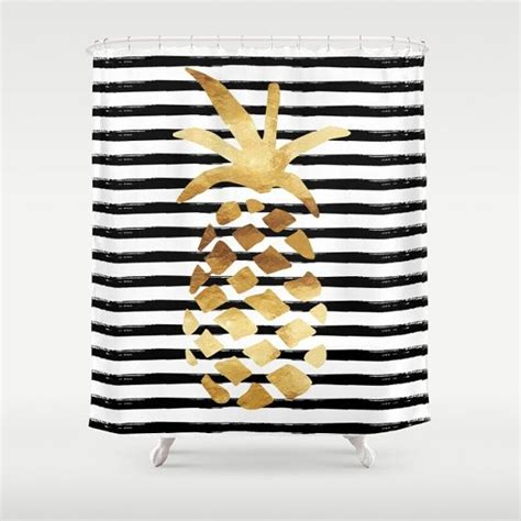 Pineapple Curtain Rod Designs Shower Curtain Pineapple And Stripes Gold Black And On Bahama Bathroom Decor And Pictures