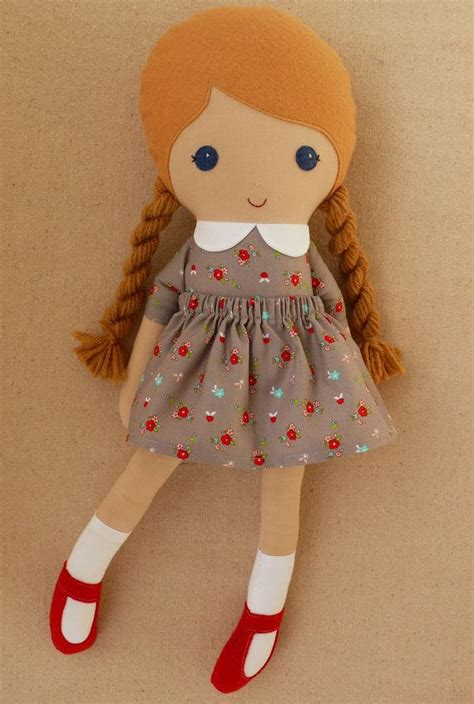 rag doll b side fabric doll rag doll blond haired with braids in gray