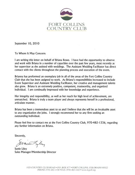 Support Letter Club Membership Letter Of Recommendation