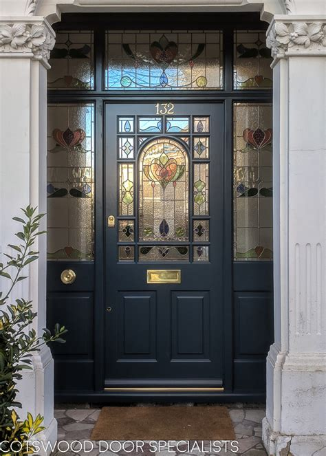 decorative edwardian front door  stained glass
