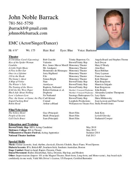 Exle Of Actors Resume by Acting Resume