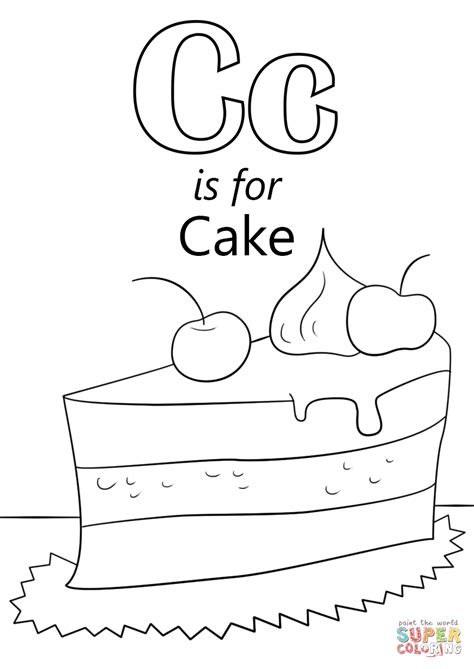 c coloring pages letter c is for cake coloring page free printable