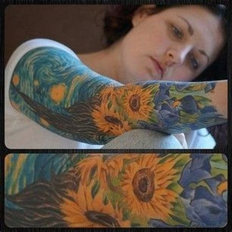 van gogh sunflower tattoo 60 stunning sunflower sleeve design ideas
