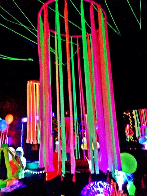 festival decorations neon flagging tape on hulla hoop glow party decoration