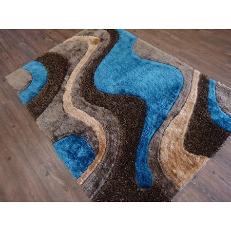 rug factory plus tufted brown blue area rug wayfair