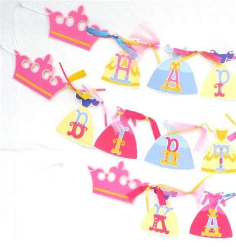 disney princess printable birthday banner disney princess dress themed happy birthday banner party