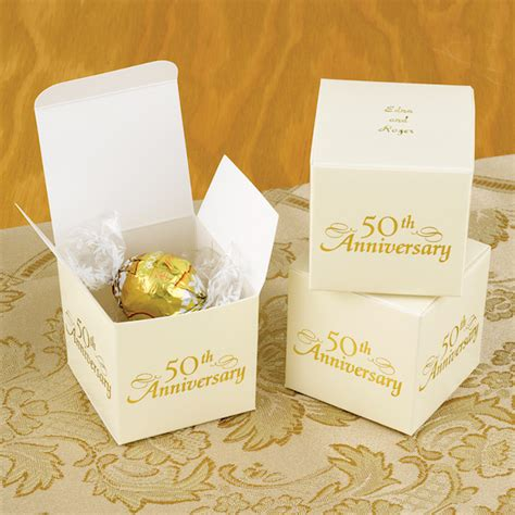 50th Wedding Anniversary Giveaways - personalized 50th anniversary favor boxes set of 25