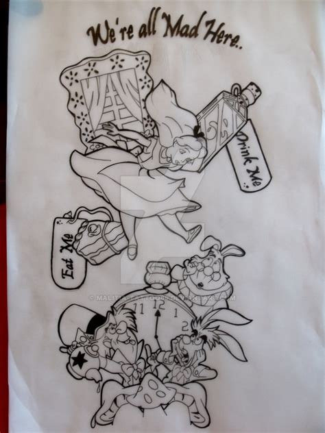 alice in wonderland tattoos designs in sleeve tat by malitia tattoo89 on