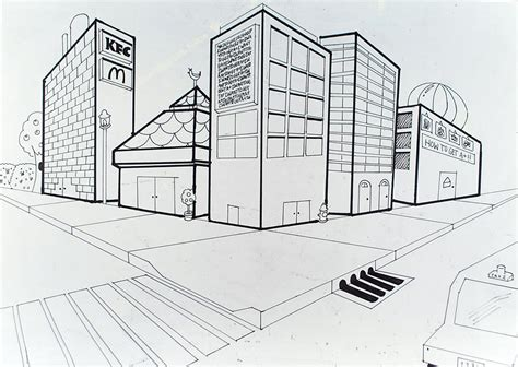 2 Point Perspective Drawing Cityscape by 2 Point Perspective City Drawings Www Pixshark