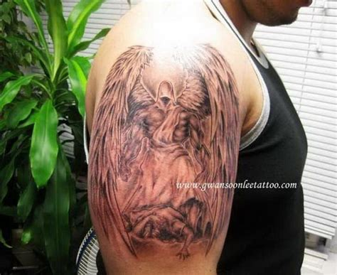 half angel half demon tattoo and demons half sleeve 178 jpg