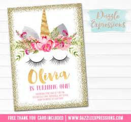 printable unicorn face and gold glitter birthday