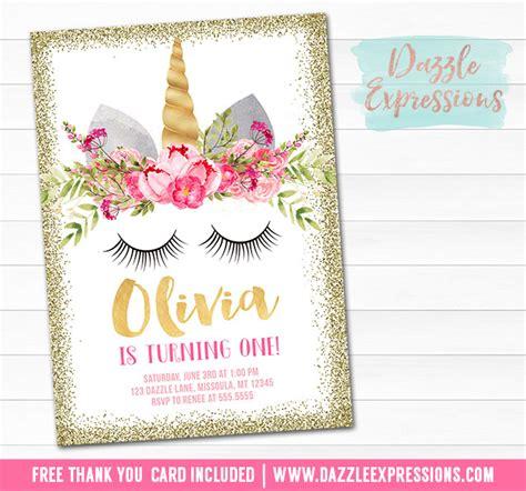 printable birthday cards unicorn printable gold glitter unicorn face birthday invitation