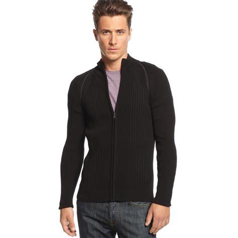 Jaket Sweater Jipper Maroon Rib Black inc international concepts raglan rib zip sweater in black for black lyst