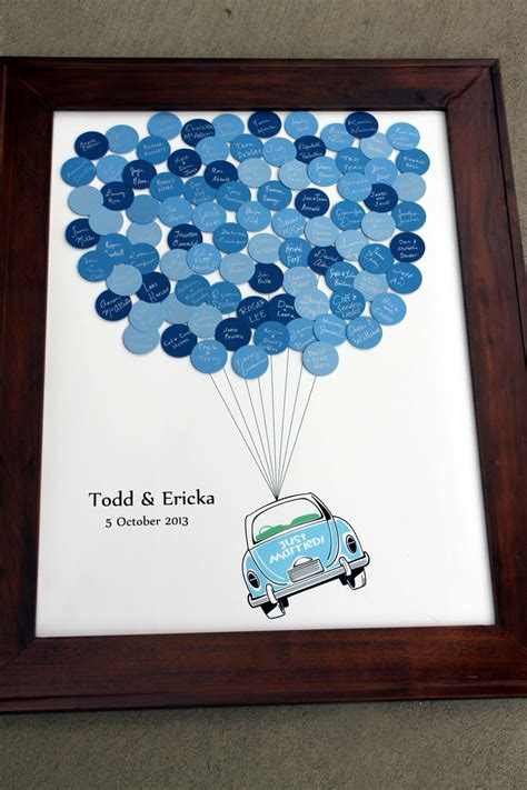 Wedding Guest Book Just Married Car Balloons for up to 300
