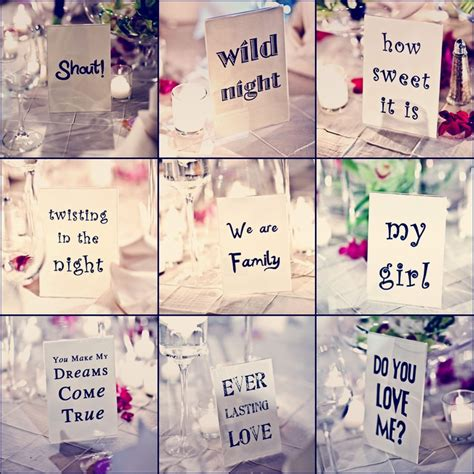theme dance names table names for wedding reception song titles when the