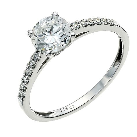 9ct white gold cubic zirconia solitaire ring h samuel