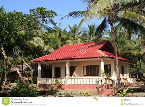Beach House On Stilts tropical bungalow stock photo image of front roof