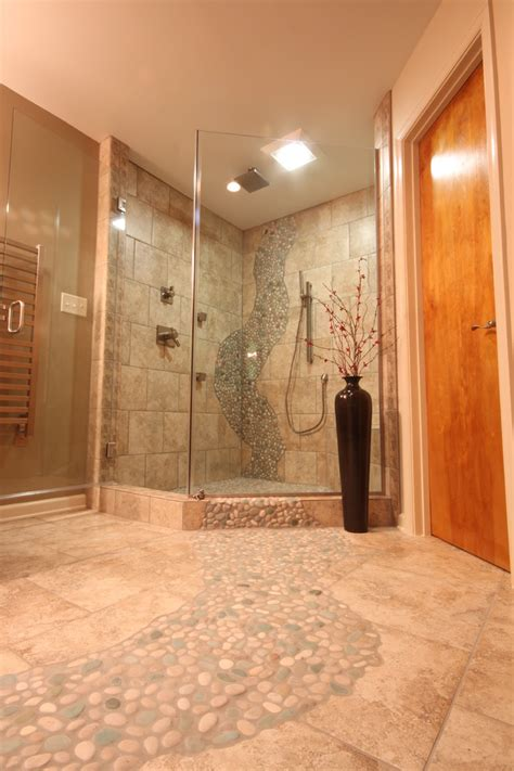 river rock shower traditional bathroom boston by river rock floor tile spaces with river rock floor tile