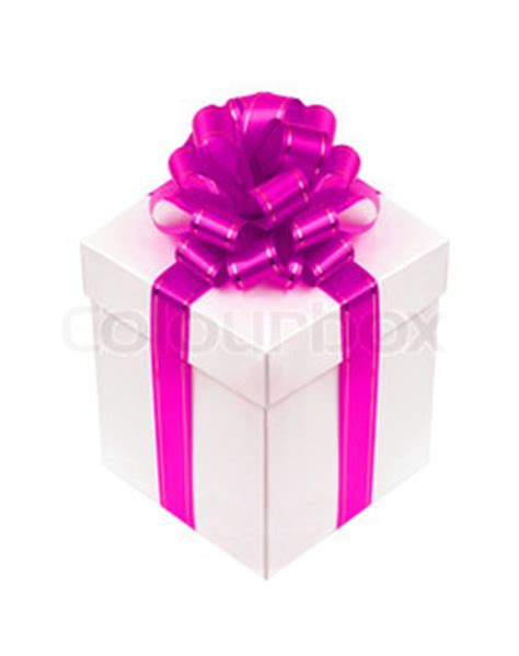 beautiful white gift box with pink ribbon bow isolated on