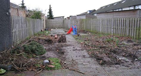 schuur leegruimen bomen rooien tuin met tuinschuur in de reeshof